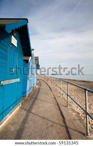 Blue beach huts on the Cromer beach