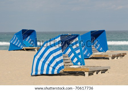 Blue beach shelters