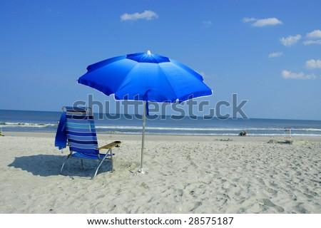 Blue Beach Umbrella and Beach Chair