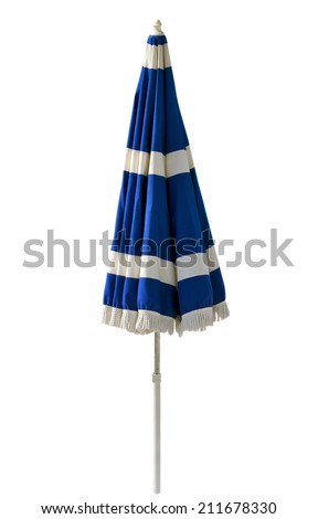 Blue beach umbrella isolated on white. Clipping path included. #211678330