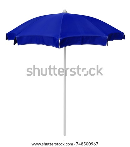 Blue beach umbrella isolated on white. Clipping path included. #748500967