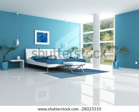 blue bedroom in a lake house - rendering