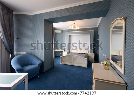Blue Bedroom Interior With Armchair And Mirror Stock Ph