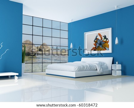 blue bedroom of a beach villa - rendering - the art picture on wall is a my rendering composition,background is a my photo