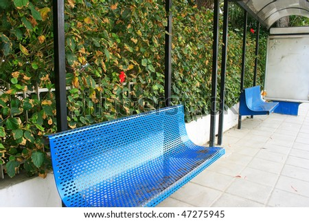 Blue benches in bus station in Limassol,Cyprus.