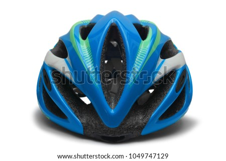 blue bicycle helmet isolated on white background #1049747129