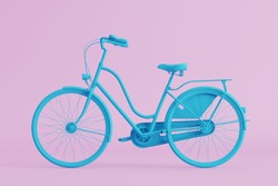 blue bicycle on pink background. pastel minimal style concept.