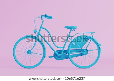 blue bicycle on pink background. pastel minimal style concept. #1065716237