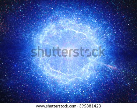 Blue big bang, explosion in space, computer generated abstract background