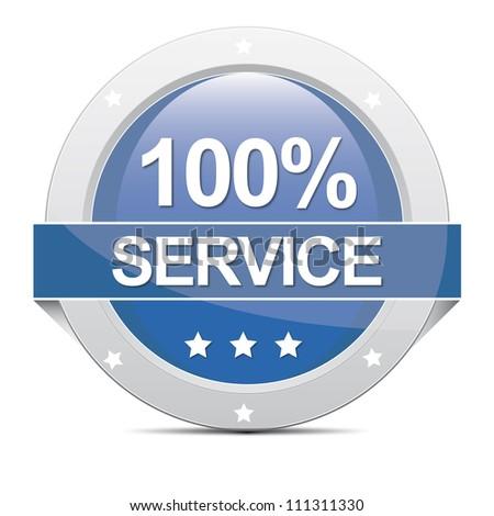 blue big round 100% Service Banner botton