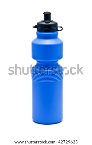 blue bike bottle isolated on white