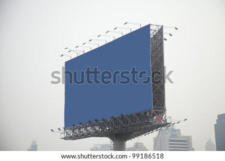 blue billboard on city