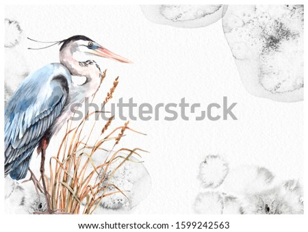 Blue bird heron and dry grass watercolor splotches greeting card hand painted illustration. Your text here