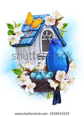 Blue bird titmouse sit near the nest with eggs, white birdhouse, cherry blossoms, butterfly, easter spring background, mixed media, 3d rendering Stockfoto ©