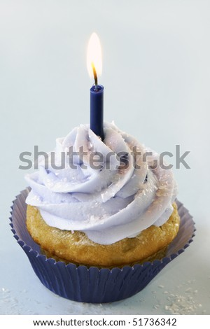 Blue birthday cupcake