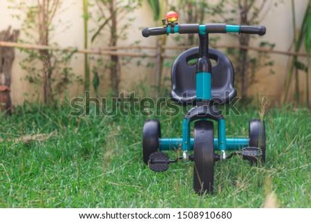 blue Black Baby Balance Bike. Children's 3 Wheeled Sliding Vehicle. Modern Kids Three Wheels Tricycle Bicycle Side View. Cycling Toddler Training Trike Bike. Infant Walker Scooter  #1508910680