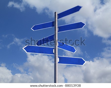 Blue Blank directions Signs over cloudy Sky