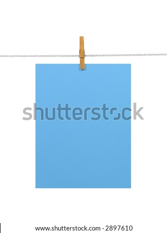 Blue blank paper sheet on a clothes line. Isolated on white background. Contains two clipping paths: 1) paper, clothes line and clothespin; 2) paper only - stock photo