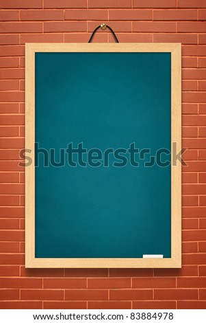 Blue board on brown wall background