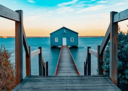 Blue Boat Shed or Crawley Boat House on the Swan River at Western Australia