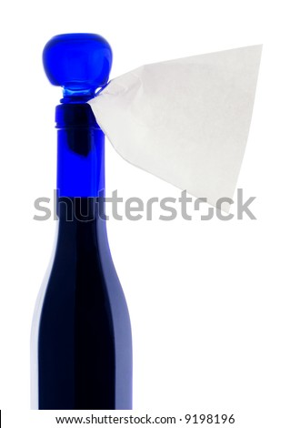 Blue bottle with label