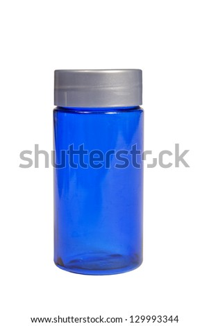 Blue Bottle XXXL /  Isolated On White/ Close Up/ Vertical Shot