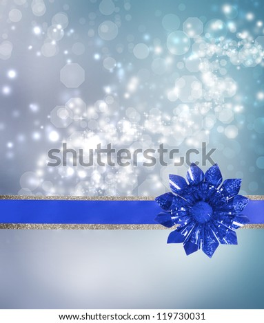 Blue Bow and Ribbon with Blue Lights Background