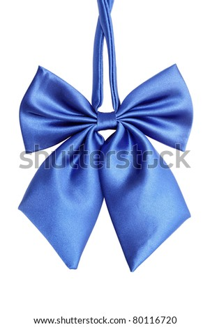 Blue bow tie for women, isolated on white