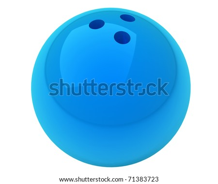 blue bowling ball with nice reflections isolated over white background