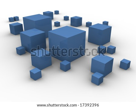 Blue boxes in different sizes scattered around on a white background. Made in 3d.