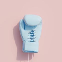 Blue Boxing glove on pink color background. minimal sport idea. 3D Render.