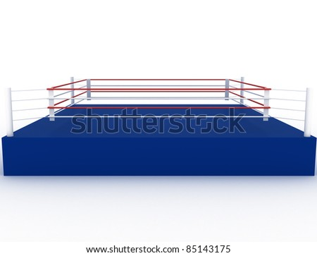 Blue boxing ring on a white background