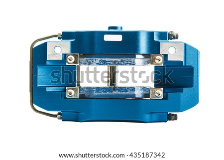 Blue brake calipers on isolated white background #435187342