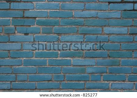 Blue brick wall.