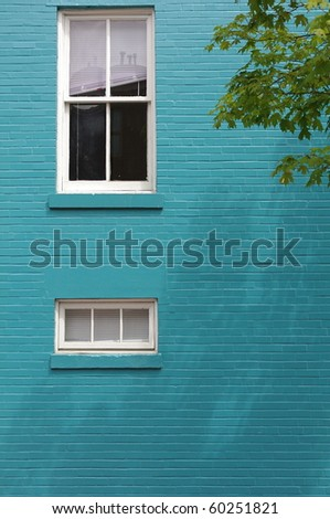 Blue Brick Wall with Window on a Colonial Home in Georgetown, Washington, D.C.