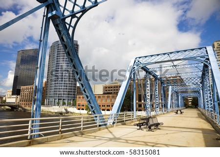 Blue bridge in Grand Rapids, Michigan, USA.