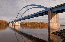 Blue bridge over Mississippi River at Marquette, Iowa