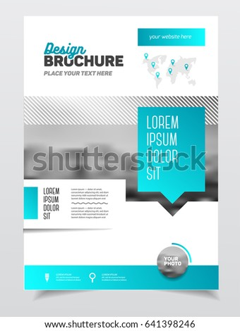 Blue brochure template for business with map of earth.