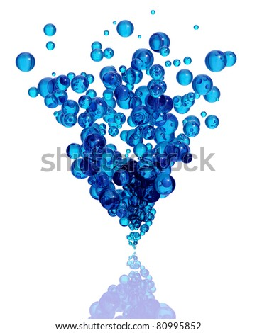 Blue bubbles group isolated on white background. Water drops vertical spray. 3d illustration.