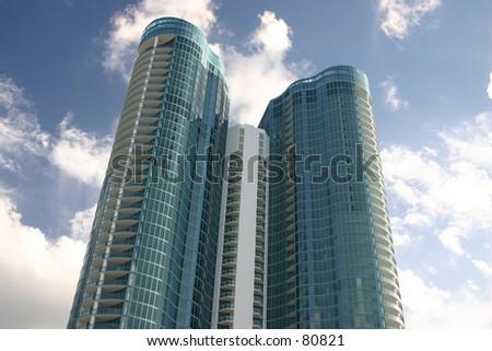 blue building against blue sky