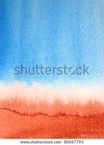 Blue & Burnt Sienna Watercolor Background 3