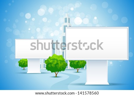Blue Business Background with City and Blank Billboard Signs