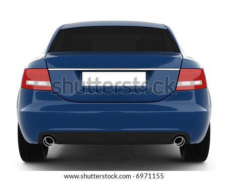 Blue Business-Class Car On a White Background
