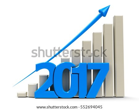 Blue business graph with blue arrow up, represents growth in the year 2017, three-dimensional rendering, 3D illustration