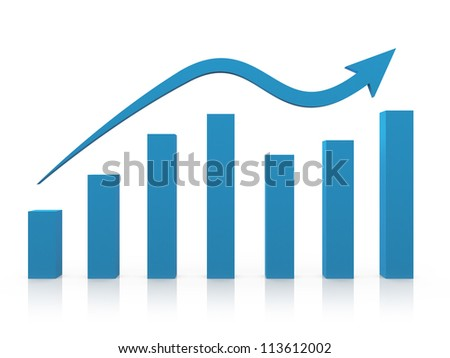 Blue business growth chart with reflection and arrow, isolated on white background.