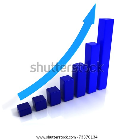 Blue Business Growth With Blue Arrow - 3D illustration.