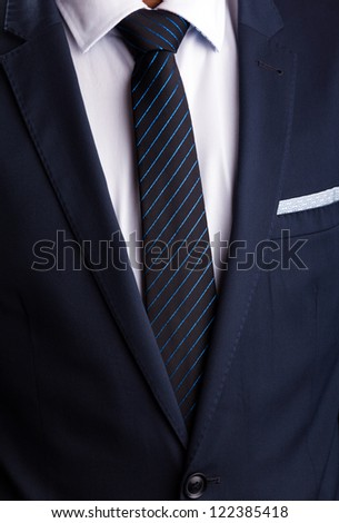 Blue business suit and tie - stock photo