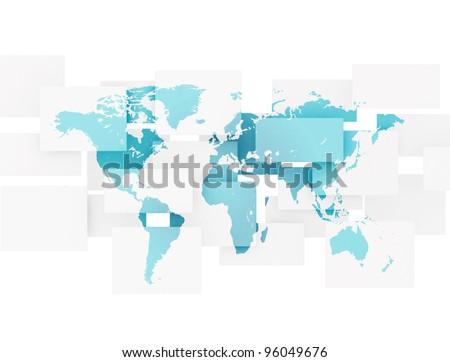 Blue business world map