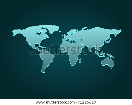 Blue business world map with countries borders.