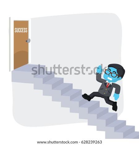blue businessman running to door success